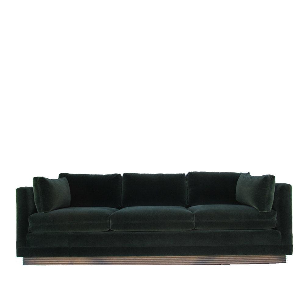 henredon green velvet tuxedo sofa. Black Bedroom Furniture Sets. Home Design Ideas