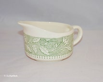 Vintage Scio Pottery, Avon Pattern Green Floral and Leaves on a Ivory Colored Creamer, Small Gravy Pourer, Desk Organizer
