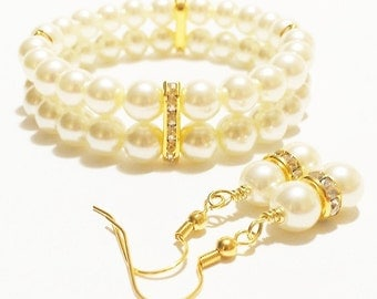 Ivory Pearl Jewelry Set / Bijoux de Mariage / Joya Boda / Bridal Party Gift / Ivory Wedding / Bridesmaid Jewelry / Pearl Bracelet  Set