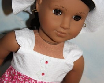 18 Inch Doll (like American Girl) Pink and White Floral Ruffled Sundress and White Hat