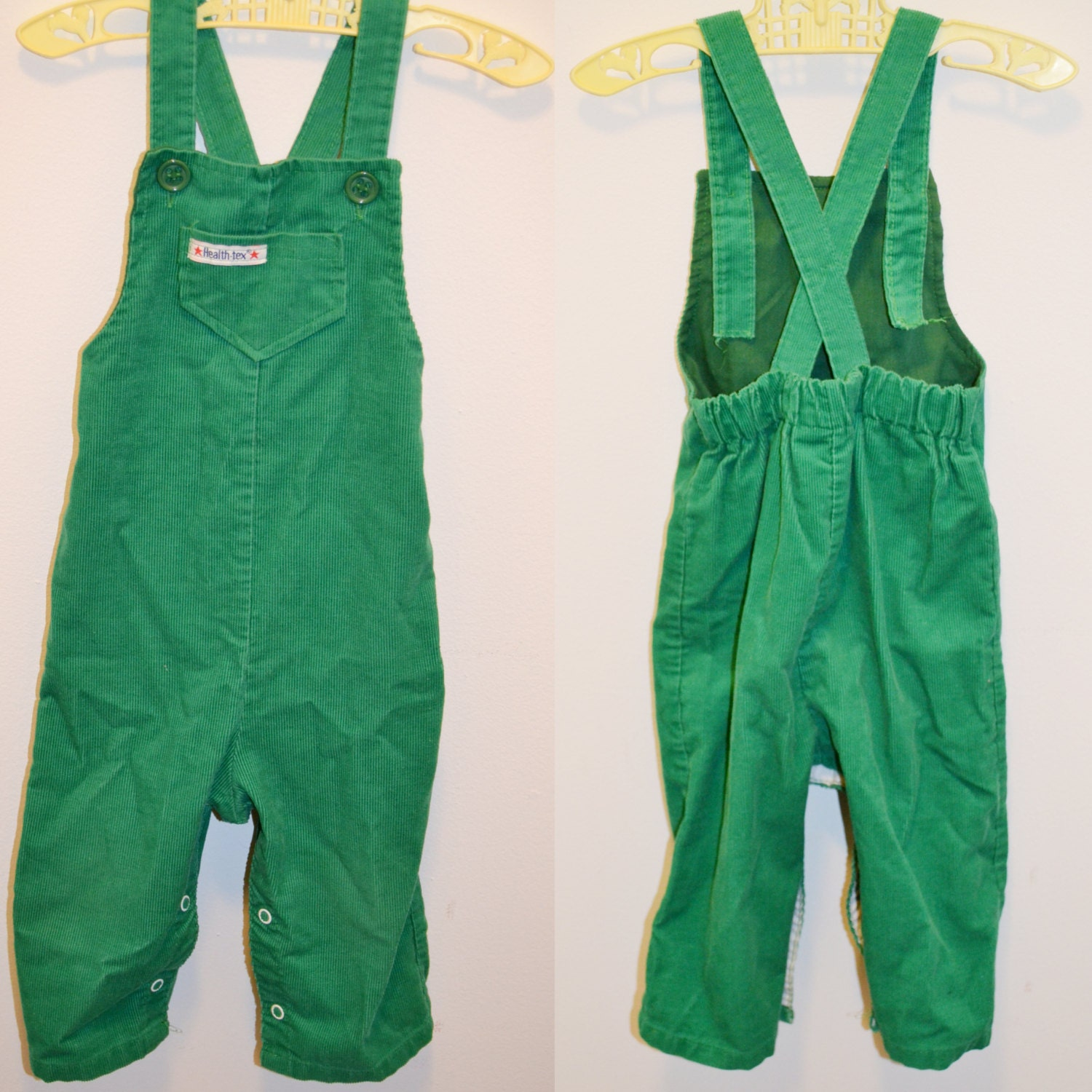 80s healthtex corduroy overalls green 24 months by blancobros