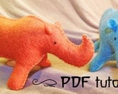Rhino, felt rhino, rhino pattern, felt rhino pattern, DIY rhino, felt rhino making pattern, felt animal, felt animal tutorial in a PDF file