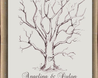 Thumbprint Fingerprint  Signature Wedding Tree Guest Book Alternative / Gift / Poster