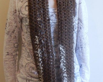 Extra Long Brown Wool Circle Scarf, Cowl, with Cream Alpaca Accents, Wearable Art