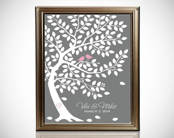 Wedding Tree Guest Book // Wedding Guest Book Tree // Personalized Wedding Print // Canvas or Matte Print 75-150 Guests // 24x36 Inches