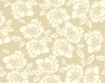 Floral Nantucket Fabric - Bethany Shackelford for Quilting Treasures - 22930 A  - Tan - 1/2 yard