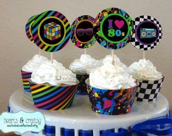 Neon 80s Party Cupcakes - 80s Birthday Cupcake Toppers & Wrappers - Print Your Own FILE to PRINT DIY