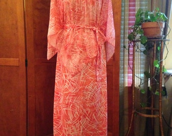 Orange and White 70's Maxi dress
