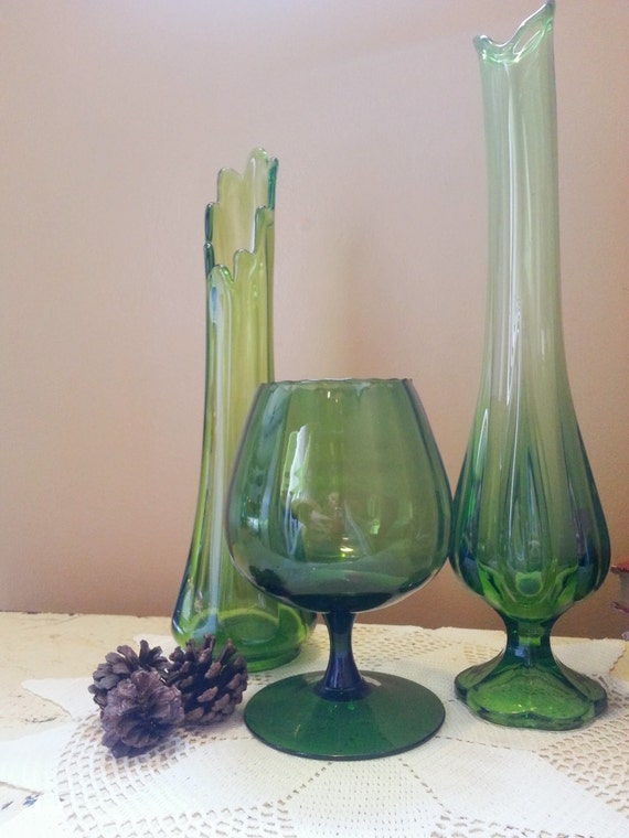 Viking Green Glass Vase Trio with Brandy by GladStoneatHome