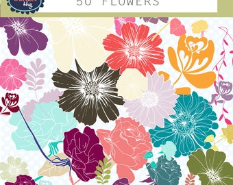 Clipart flowers 50 FLOWERS hand drawn flowers, Orange, green, pink, yellow - flower clipart clip art flowers floral clipart, flower graphics