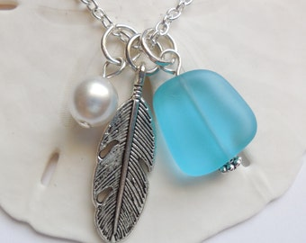 Turquoise Bay Sea Glass Necklace, Beach Glass Necklace, Sea Glass Jewelry, Beach Glass Jewelery, Feather Charm Necklace, Free Shipping in US