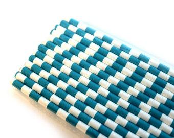 Teal Horizontal Stripes Paper Straws (25) - Party Paper Straws, Drinking Straws