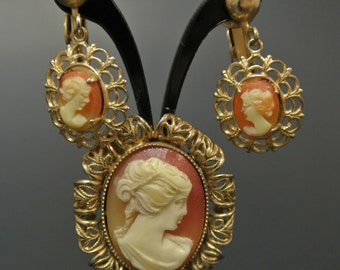 Vintage Antique Cameo Brooch & Earrings Set