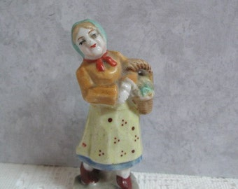 Porcelain Figurine Made in Occupied Japan Woman with Basket