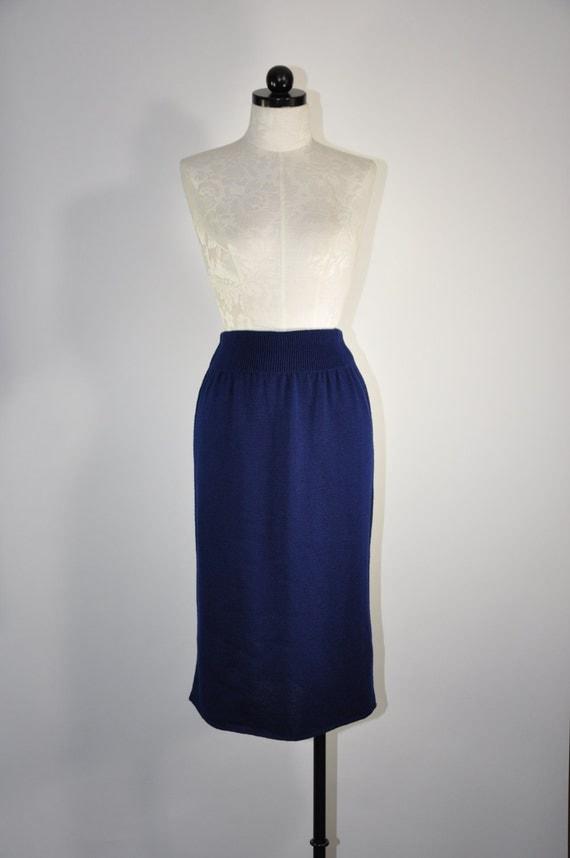 80s navy blue knit skirt vintage 1980s knit pencil skirt