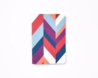 Herringbone Pocket Journal | Small Patterned Notebook in Magenta