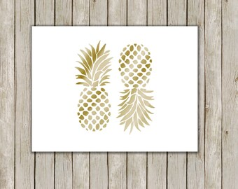 5x7 Pineapple Set Print, Gold Wall Art, Gold Printable, Fruit Poster, Home Decor, Kitchen Art, Gold Art, Instant Digital Download