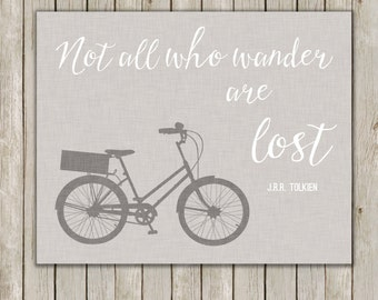 8x10 Quote Art, Not All Who Wander Are Lost, J.R.R. Tolkien, Linen Art, Typography Art, Home Decor, Quote Wall Art, Instant Digital Download