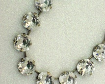 Stunner - Clear 12mm Square Swarovski Crystal Chain Necklace - Beautiful Clear White Crystals 12mm Square in Antique Gold