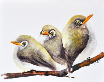 ORIGINAL Watercolor Painting, Small Birds Illustration 6x8 inch