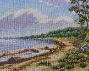 "Cross stitch picture/ wall decor/  ""Midday"" / forest picture /"