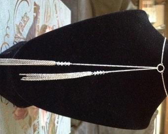 Fantastic Lariat Silver Necklace with Swarovski Crystals