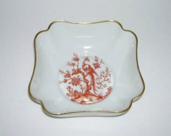 Limoges Bird of Paradise and Rose Flower Square Bowl