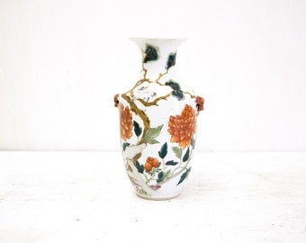 Chinese Vase with with Rust, Green Flowers and Bird in Three