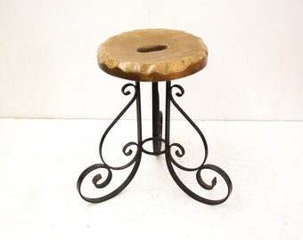 Steel and Wood Stool with Scalloped Edge Seat
