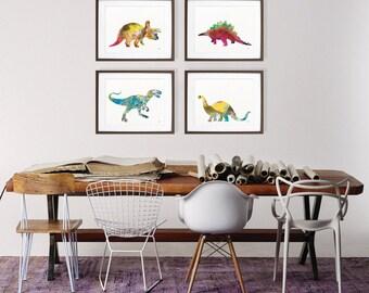 Dinosaur Art Watercolor Painting - 8x10 Print Set of 4, Dinosaur Art Prints, Dinosaur Silhouette Art - Wall Decor, Home Decor, Gifts