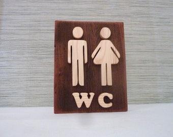 Bathroom sign, wooden wall decor, restroom sign, wood sign, rustic wall sign, toilet door sign, toilet decor, restroom decor