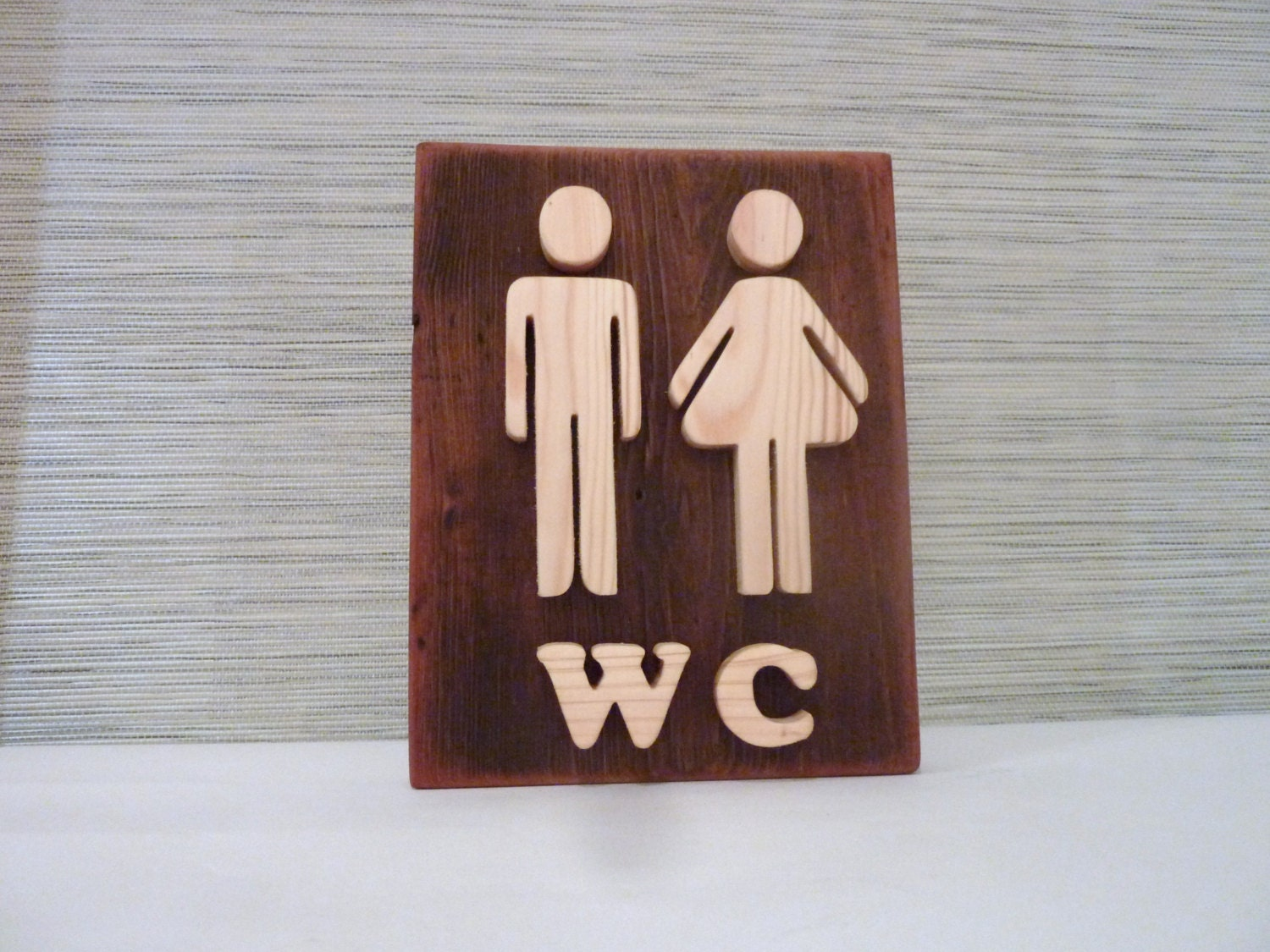 Bathroom sign wooden wall decor restroom sign wood sign for Wood bathroom wall decor