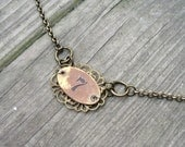 Vintage brass tag necklace, Lucky #7