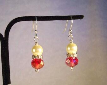 White Pearl Earrings, Red Crystal Earrings, Silver Earrings, White Earrings, Red Earrings, Faceted Crystal Earrings