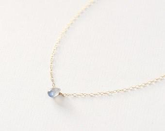 Ines - 14k Gold Labradorite necklace  - tiny gemstone necklace - semi precious necklace - teardrop necklace - bridesmaid gift