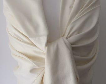 Ivory Pashmina , Cream Wrap Shawl , Large Scarf , Fair Trade Handwoven, Bridesmaids Wrap