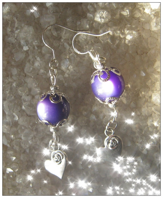 Handmade Silver Hook Earrings with Purple Cat Eye & Heart by IreneDesign2011