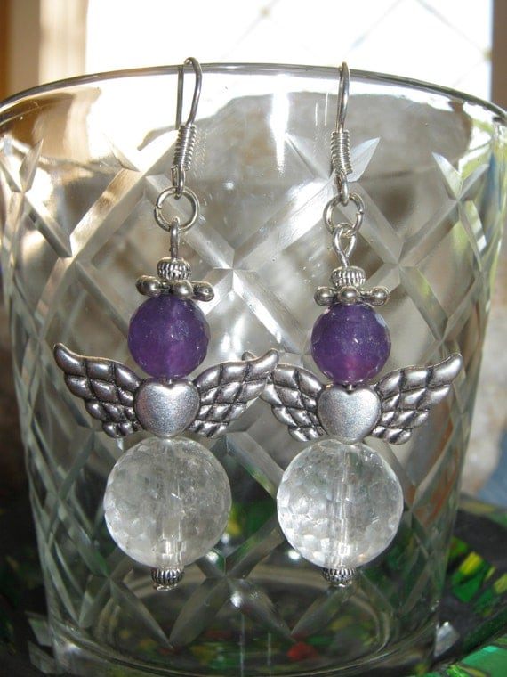 Handmade Silver Guardian Angel Earrings with Facetted Rock Crystal & Facetted Amethyst by IreneDesign2011