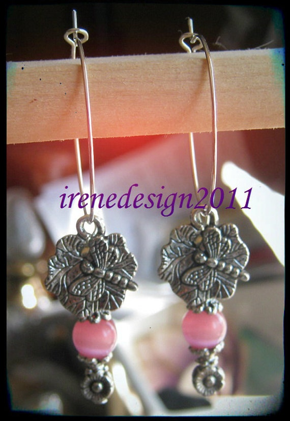 Handmade Silver Hoop Earrings with Pink Cat Eye, Dragonfly & Flower by IreneDesign2011