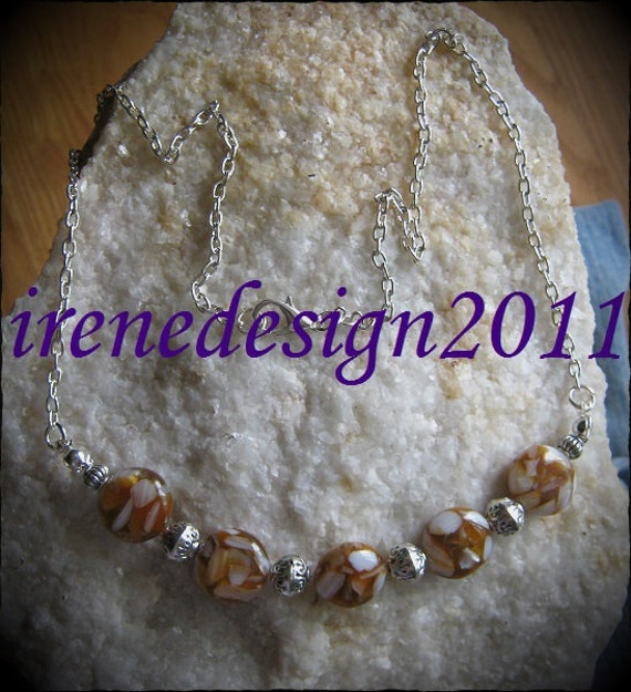 Handmade Silver Necklace with Picasso Agate Coins by IreneDesign2011