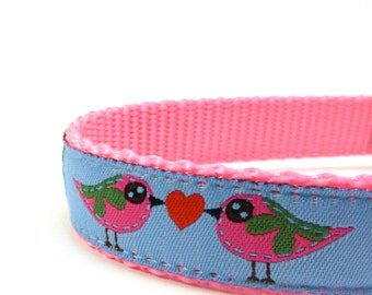 Love Birds dog collar on blue background/ adjustable dog collar