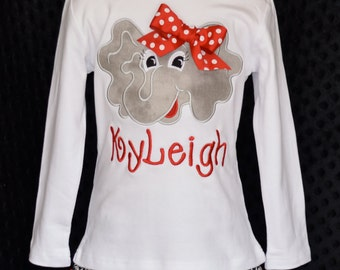 Personalized Football Elephant Face Applique Shirt or Onesie