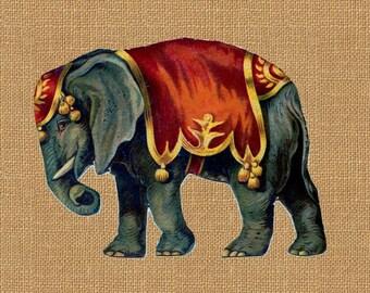 Circus Elephant Carnival Color Vintage Printable Image INSTANT Download Digital Antique Clip Art Transfer Art Print jpg jpeg pdf png V46