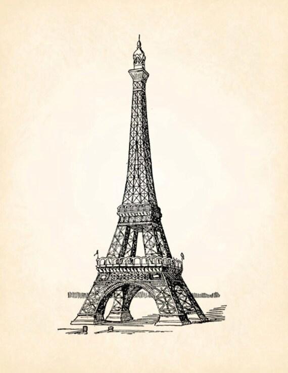 Eiffel Tower Paris France French Vintage Printable Image