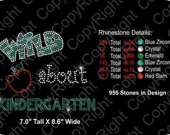 Rhinestone Transfer Template Pattern Wild About Kindergarten - School -  DOWNLOAD Stencil - DIY - Sticky Flock