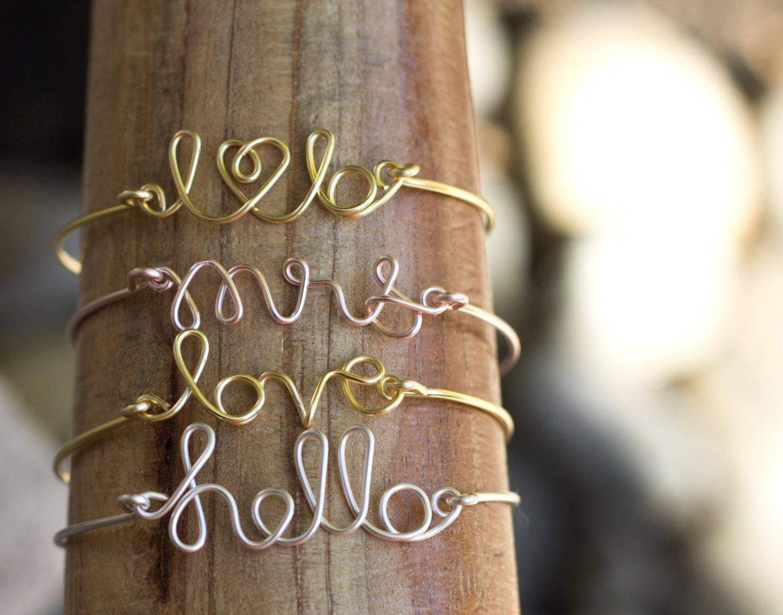 Custom Wire Bangle, Wire Word Bracelet, Love Bracelet, Mrs Bracelet, Personalized Bracelet, Bangle, Bridesmaids Bracelet