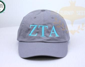 Zeta Tau Alpha Greek Only Sorority Baseball Cap - Custom Color Hat and Embroidery.