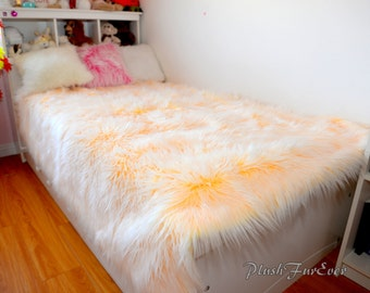 Mongolian Faux Fur Bedding Yellow White Mongolian Faux Fur Plush Soft Comforters Bed Blanket Luxury Home Decor