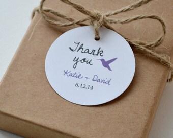 Hummingbird Round Matte Label Tags - Custom Wedding Favor & Gift Tags - Choice of Colors - Thank You Hummingbird