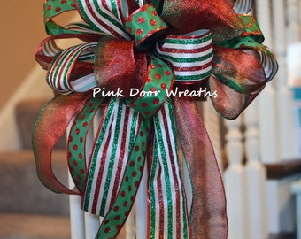 "CHRISTMAS TREE TOPPER 13"" bow decor red traditional green white attachment (others available) multipurpose Made to Order"